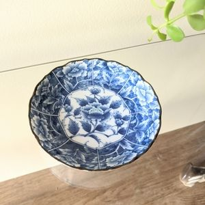 Vintage Floral Blue Green Small Trinket Dish Plate